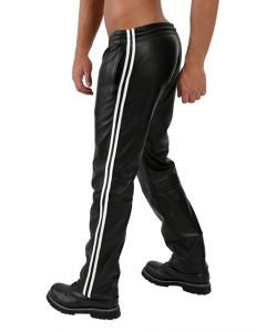 Mister B Leather Jogging Pants White Stripes - now at misterb.com