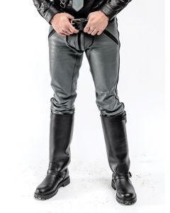 Mister B Leather FXXXer Jeans Grey With Black Piping - now at misterb.com