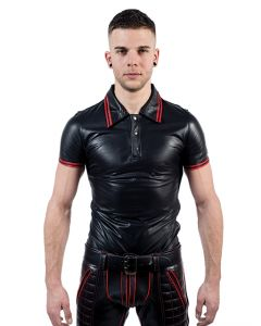 Mister B Leather Poloshirt Red Stripe - now at misterb.com