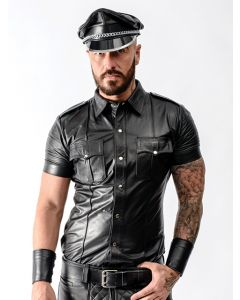 Mister B Leather Police Shirt Short Sleeves - now at misterb.com