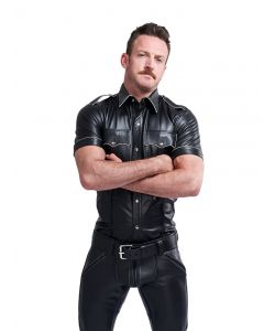 Mister B Leather Police Shirt Short Sleeves White Piping