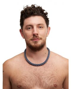 Chainmail Collar Twist Stainless Steel and Aluminium - Blue