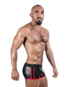 Mister B Neoprene Shorts 3 Way Full Zip Black Red - now at misterb.com