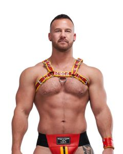 Mister B Leather Circuit Harness - Red Yellow