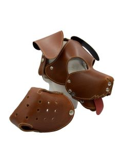 Mister B Leather Floppy Dog Hood Stitched - Brown