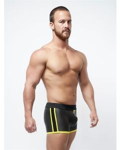 Mister B Neoprene Pouch Shorts Black Yellow - buy online at www.misterb.com