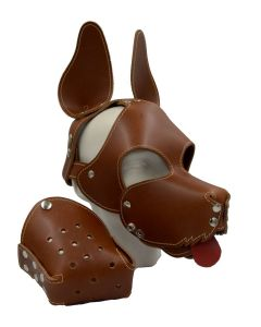 Mister B Leather Shaggy Dog Hood Stitched - Brown