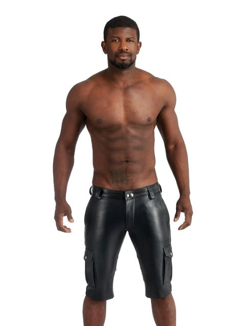 Mister B Leather Cargo Shorts - Black