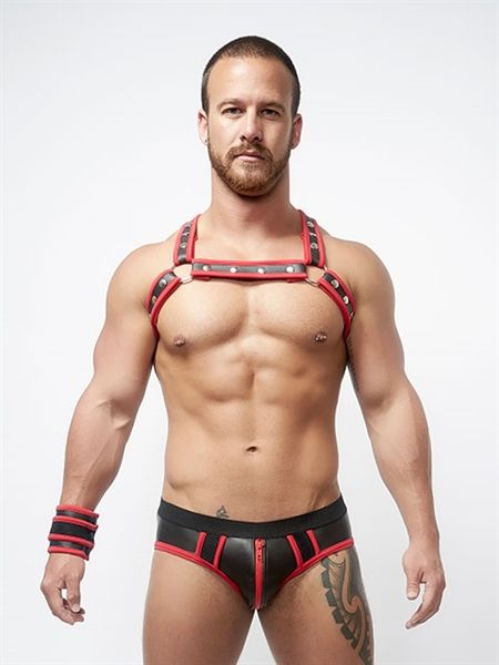 Mister B Neoprene X Back Harness Black Red L-XL
