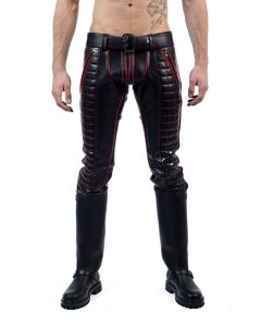 Mister B Leather Indicator Jeans Red Stitching-Piping