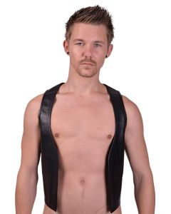 Mister B Leather Muscle Vest Red Striped
