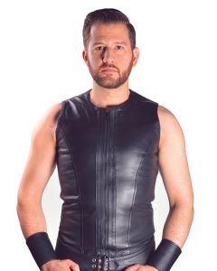 Mister B Leather Sleeveless Vest Zip