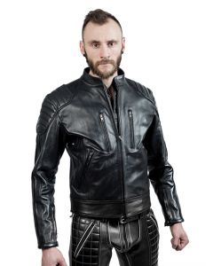 Mister B Leather Biker Jacket Black Stripes
