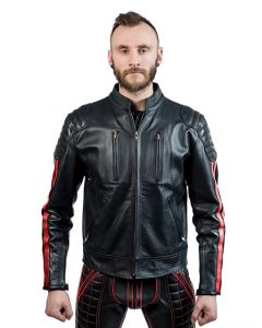 Mister B Leather Biker Jacket Red Stripes
