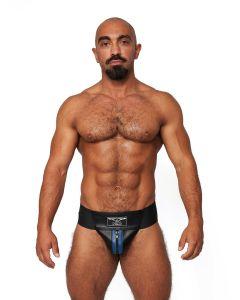 Mister B Leather Premium Jockstrap - Black Blue