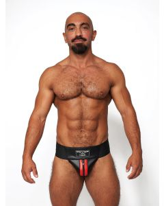 Mister B Leather Premium Jockstrap - Black Red
