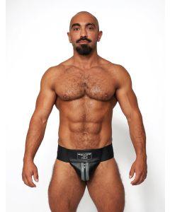 Mister B Leather Premium Jockstrap - Black Grey