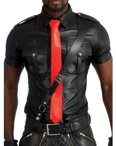 Mister B Leather Tie Stitched - Red