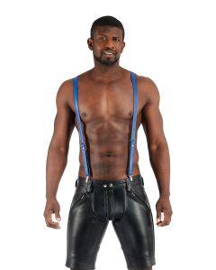 Mister B Leather Suspenders Blue