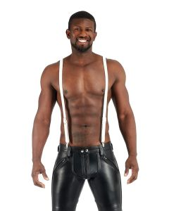Mister B Leather Suspenders White