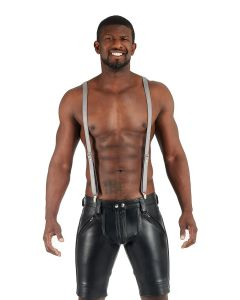 Mister B Leather Suspenders Grey