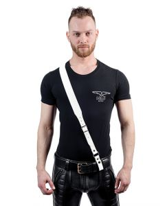 Mister B Leather Sam Browne Belt Stitched White