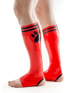 Mister B FETCH Rubber Puppy Football Socks Red Black