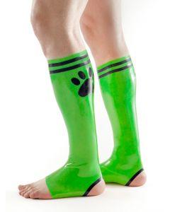 Mister B FETCH Rubber Puppy Football Socks Green Black