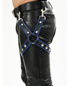 Mister B Leather Leg Harness Black-Blue