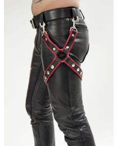 Mister B Leather Leg Harness Black-Red