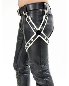 Mister B Leather Leg Harness Black-White