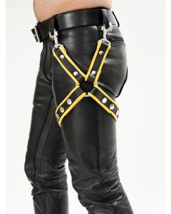 Mister B Leather Leg Harness Black-Yellow