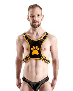 Mister B FETCH Rubber Puppy Harness Black Yellow
