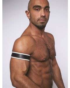 Mister-B-Leather-Biceps-Band-Black-White