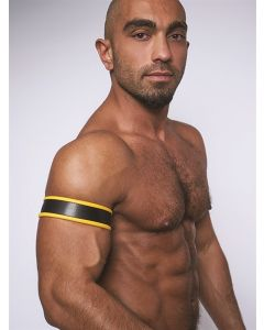Mister-B-Leather-Biceps-Band-Black-Yellow