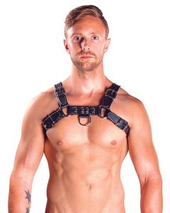 Mister B Leather Chest Harness Black-Black