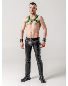 Mister-B-Leather-Chest-Harness-Premium-Neon-Green-Black-S