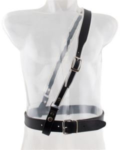 Mister B Leather Sam Browne Belt Premium Black - White