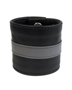 Mister-B-Leather-Wristband-Grey-Striped-L
