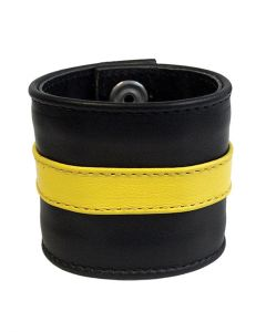 Mister-B-Leather-Wristband-Yellow-Striped-S