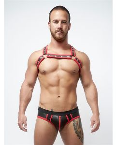 Mister B Neoprene Jock Brief Black Red