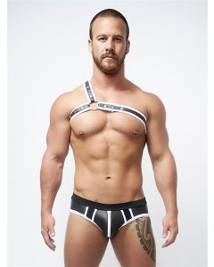 Mister B Neoprene Jock Brief Black White