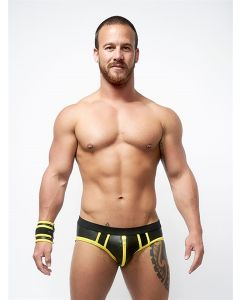 Mister B Neoprene Jock Brief Black Yellow