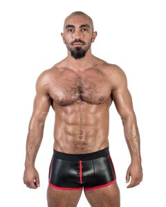 Mister B Neoprene Shorts 3 Way Full Zip Black Red