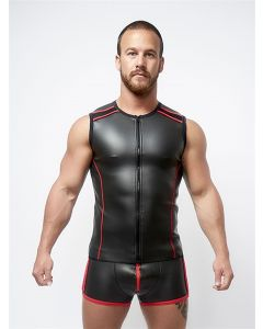 Mister B Neoprene Sleeveless T Zip Black Red