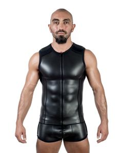 Mister B Neoprene Sleeveless T Zip Black