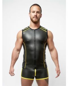 Mister B Neoprene Sleeveless T Zip Black Yellow