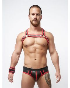 Mister B Neoprene X Back Harness Black Red