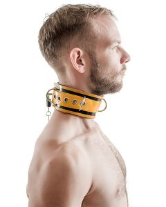 Mister-B-Rubber-Collar-Lockable-Black-Yellow